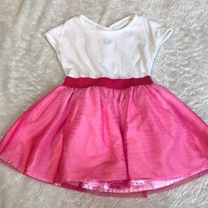 Toddler dress with pink tulle skirt